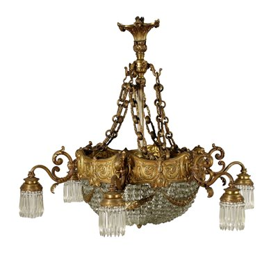 Chandelier With 6 Lights Glass Italy 20th Century