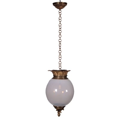 Ceiling Lamp Opaline Glass Gilded Bronze Brass Italy 20th Century