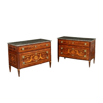 Pair Of Chests Of Drawers Neoclassical Walnut Lombardy Italy Late 1700