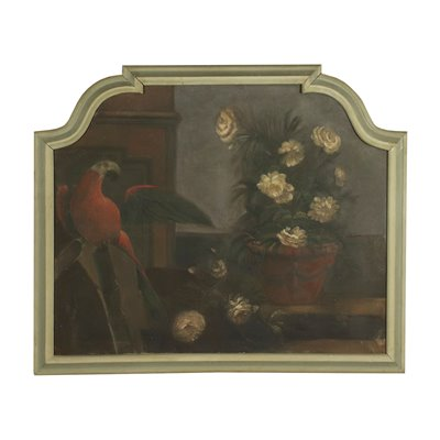 Still Life With Flowers And Parrot Oil On Canvas 19th Century