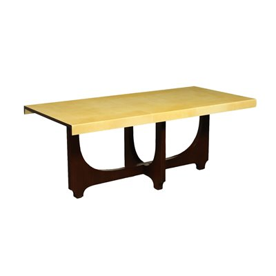 Table Aldo Tura Veneered Wood Parchment Polyester Italy 1960s