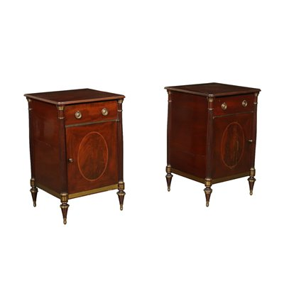 Pair Of Side Tables George IV Brass Mahogany England Early 19 Century