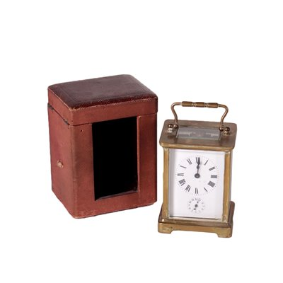 Travel Clock With Case Gilded Bronce 19th Century