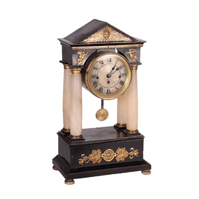Temple Shaped Clock Alabaster Bronze Wood France19th Century