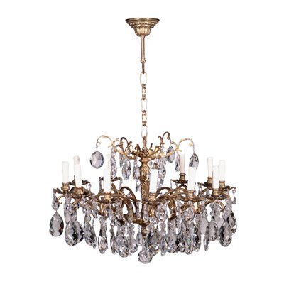 12 Lights Chandelier Gilded Bronze Glass Italy 20th Century
