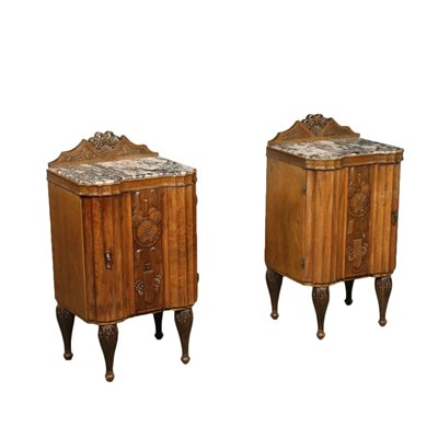 Pair of Liberty Bedside Tables Marble Italy 20th Century