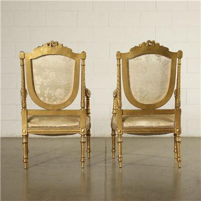 Pair of Neo Classical Revival Armchairs Italy 20th Century