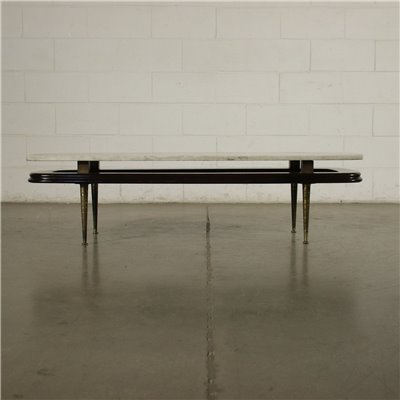 Coffee Table Ebonized Wood Brass Marble Argentina 1950s