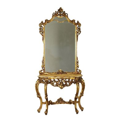 Revival Console With Mirror Italy 20th Century