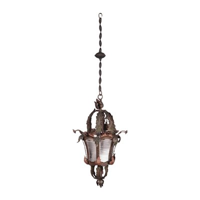 Ceiling Lamp Bronze Shear Plate Italy 20th Century
