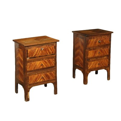 Pair of Bedside Tables Marple Walnut Italy Late 18th Century