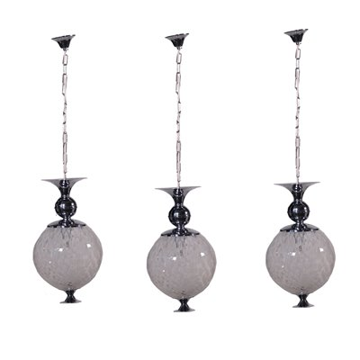 Group Of Three Lamps Chromed Metal Glass Italy 1960s