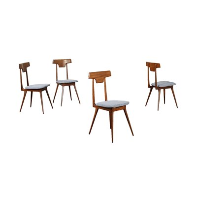 Group Of Four Chairs Beech Mahogany Fabric Foam Italy 1950s 1960s