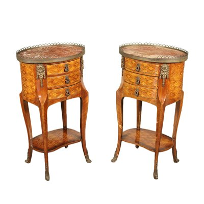 Pair of Revival Bedside Tables Sessile Oak Bronze Marble 20th Century