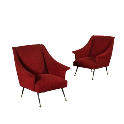 Pair Of Armchairs Foam Metal Brass Fabric Italy 1950s 1960s