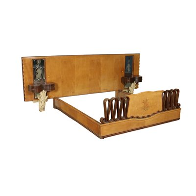 Double Bed Beech Veneer Lacquered Stained Wood Mirror Italy 1930s 1940