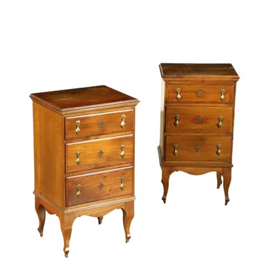Pair of Bedside Table Silver Fir Cherry Italy 18th-20th Century