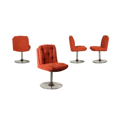 Group Of Four Chairs Chromed Metal Fabric Foam Italy 1960s 1970s