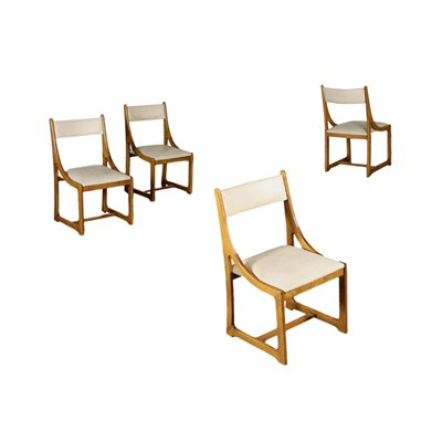 Group Of Four Chairs Beech Leatherette Foam Italy 1960s 1970s