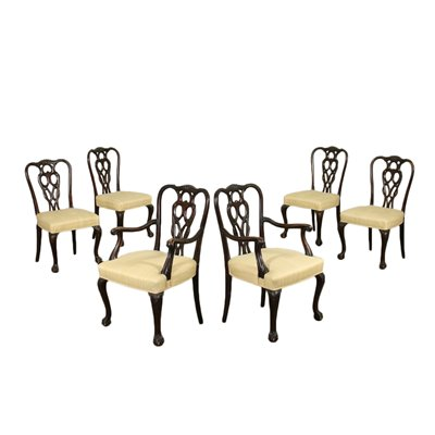 4 Revival Chairs And 2 Armchairs Walnut England 20th Century