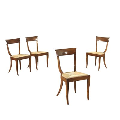 Group of 4 Empire Chairs Walnut Italy 19th Century