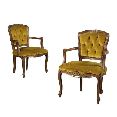 Pair Of Revival Armchairs Walnut Padded Italy 20th Century