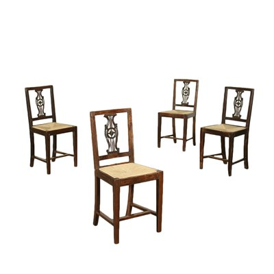 Group of 4 Directoire Chairs Wlanut Italy 18th-19th Century