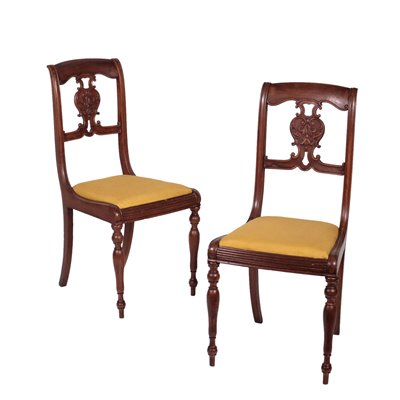 Pair of Louis Philippe Chairs Walnut Italy 19th Century