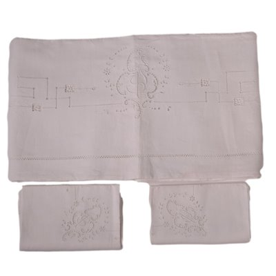 Double Bedsheet With Two Pillowcases Flax Italy 20th Century