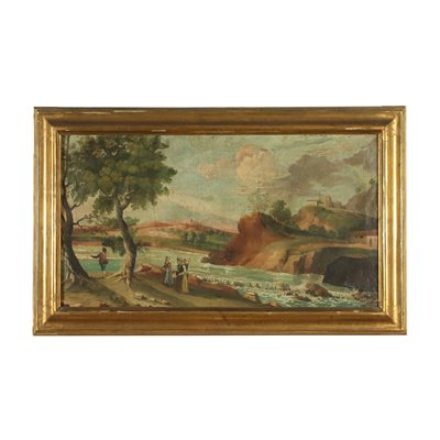 Landscape with Figures Oil on Canvas 19th Century