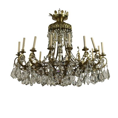 Large Chandelier 16 Lights Glass Gilded Bronze Italy 20th Century