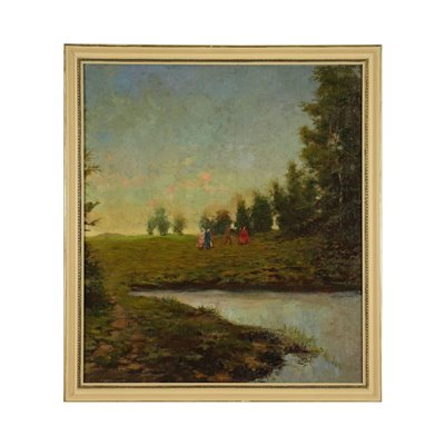 Lanscape With Figures Oil on Canvas 19th Century