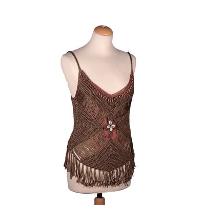 Nico Fontana Croched Top With Fringes Cotton Italy