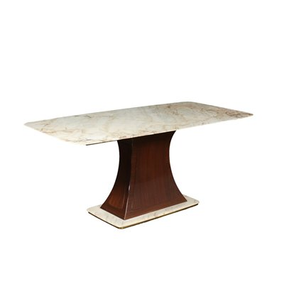 Table Wood White Marble Brass Italy 1950s