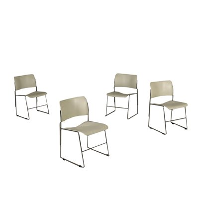 Four Chairs David Rowland For GF Forniture Steel Metal Italy 1960s 70s