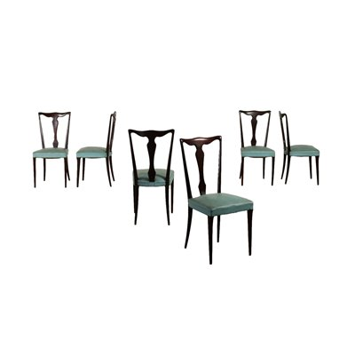 Group Of Six Chairs Leatherette Spring Stained Wood Italy 1950s 1960s