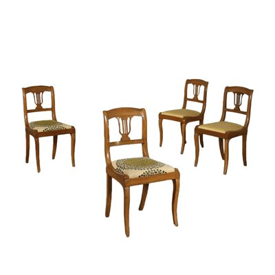 Group Of 4 Restoration Chairs Walnut Italy 19th Century