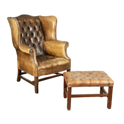 Bergere Armchair With Footrest Mahogany Leather Italy 20th Century