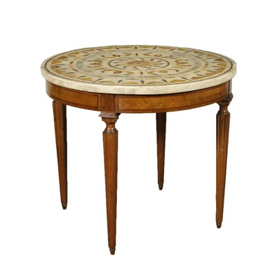 Revival Table With Marble Top Olive Marble Italy 20th Century