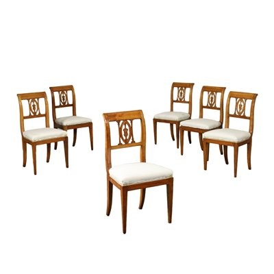 Group of 6 Directoire Chairs Cherry Padded Italy 19th-18th Century