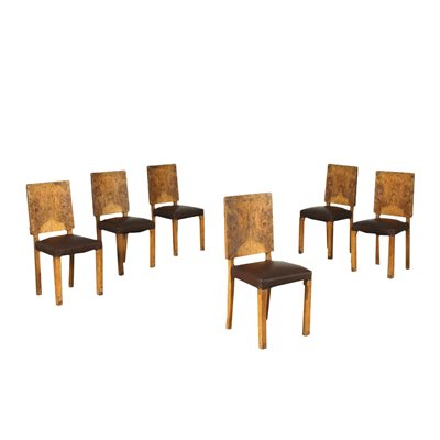 Group Of Six Chairs Deco Burl Veneer Spring Leatherette Italy 1920s 30
