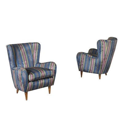 Pair Of Armchairs Foam Spring Fabric Italy 1950s