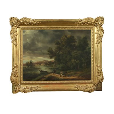 Landscape With Hunters Oil On Canvas 19th Century
