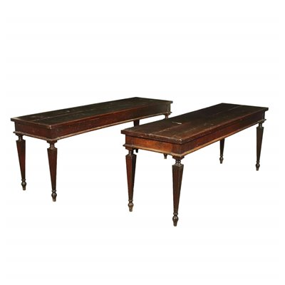 Pair Of Consoles Neoclassical Walnut Piacenza Italy Second Half 1700