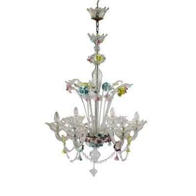 Chandelier Blown Glass Coloured Glass Murano Italy 20th Century