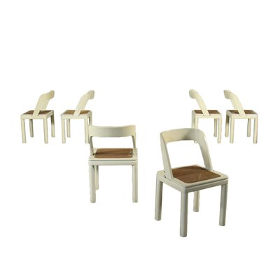 Group Of Six Chairs Lacquered Wood Vienna Straw Italy 1970s