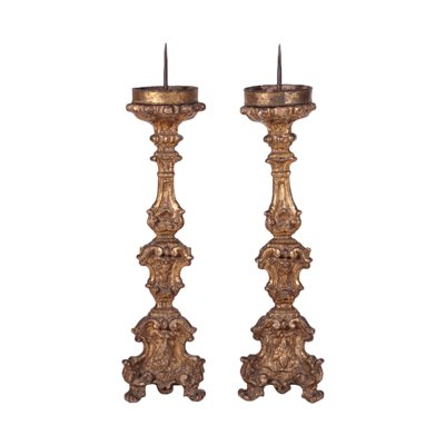 Pair of Baroque Torch Holders Wood Italy 17th-18th Century