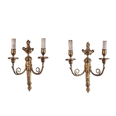 Pair of Wall Lights Gilded Bronze Italy 20th Century