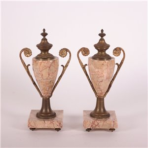 Fireplace Triptych Marbel Gilded Bronze France 20th Century
