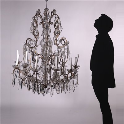 Chandelier Metal Glass Italy 19th Century